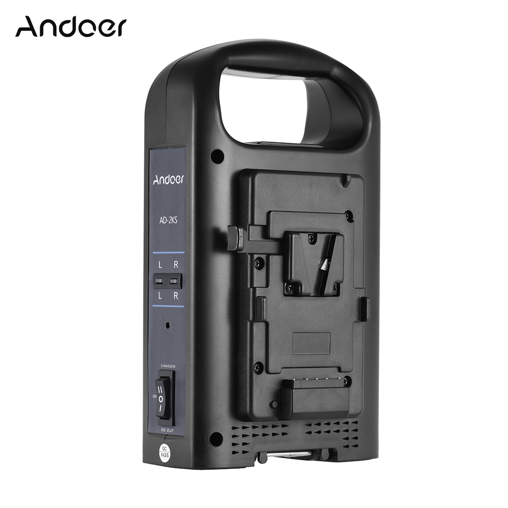 Andoer Battery Charger 2 Channel Dual Camcorder Battery Charger for V Mount Battery for DSLR Video