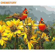 CHENISTORY Frame Flowers Birds DIY Painting By Numbers Wall Art Picture Coloring By Numbers Handpainted Canvas Painting For Home(China)