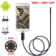 2/5/10M 8mm Lens USB Endoscope Camera Waterproof Wire Snake Tube Inspection Borescope for OTG Compatible Android Phones(China)