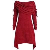 LANGSTAR 2017 Autumn Women Big Size Top Casual Long Foldover Collar Ruched Shirt Women Long Sleeve