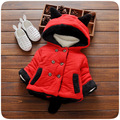 2016 baby Baby Girls Winter Cartoon Coat New Cute Children Polka Dot Hooded Jacket Kids Thicken Cotton Outerwear