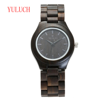 YULUCH New Arrival Men's Luxury Brand Good Quality Wood Watch Natural Ebony Set Wooden Quartz Watch Pin Gift