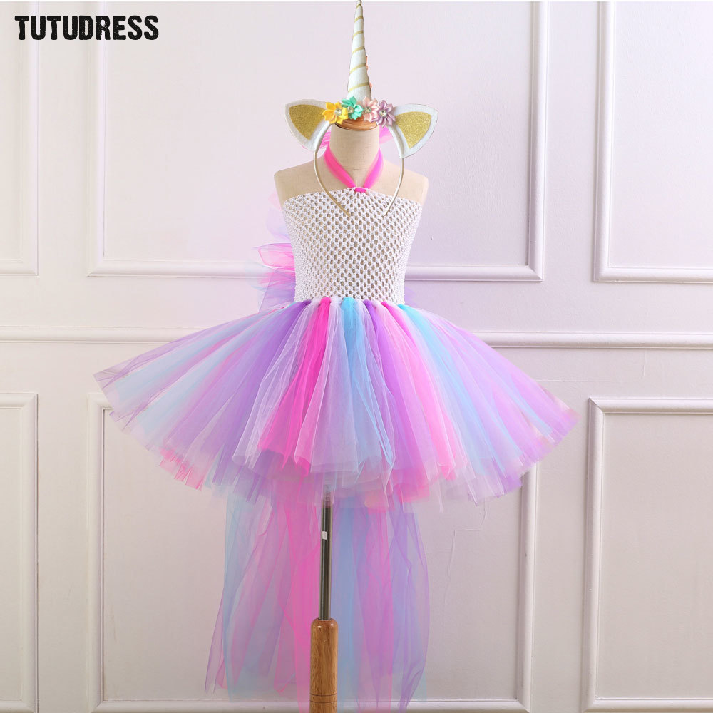 Train Unicorn Girls Tutu Dress with Headband Bustle Rainbow Girl Birthday Party Dress Children Kids Halloween Dress Costume 2-12 children girl tutu dress super hero girl halloween costume kids summer tutu dress party photography girl clothing