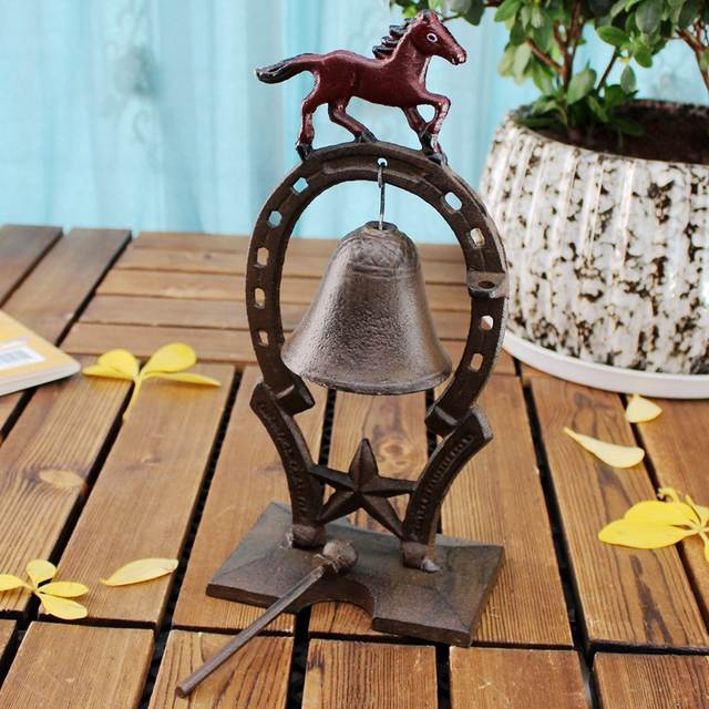 US $110 3 |European Vintage Horse with Red Painted Tabletop Decor Cast Iron  Hand Knocking Bell Dinner Service Bell-in Figurines & Miniatures from Home