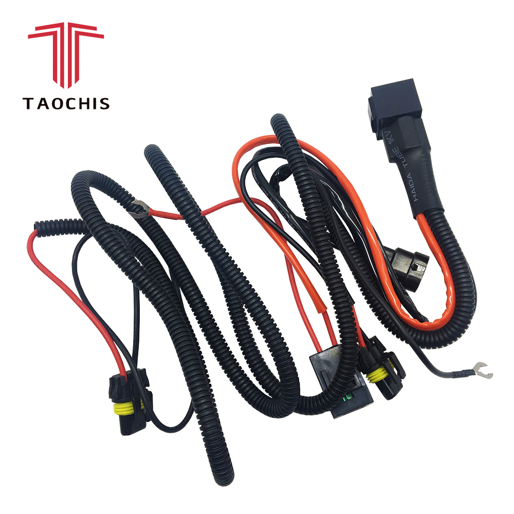 taochis 12v 35w 55w wiring harness controller relay control h1 h3 h7 cable wire 9005 9006 [ 1000 x 1000 Pixel ]