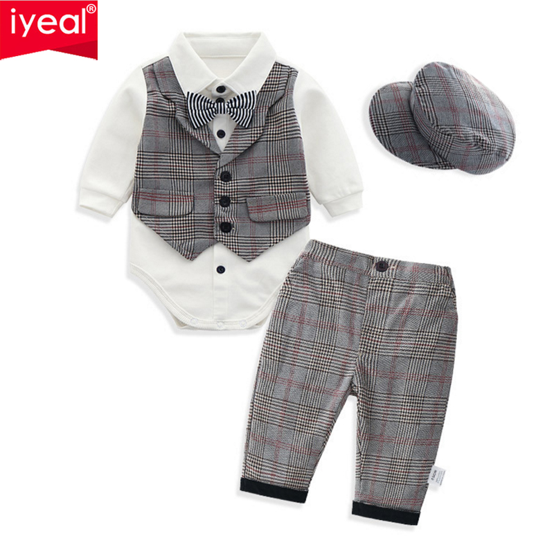 IYEAL Newest 2019 Spring Fashion Baby Boy Clothes for Birthday Wedding Party High Quality Formal Gentleman Baby Clothes Set 4PCS