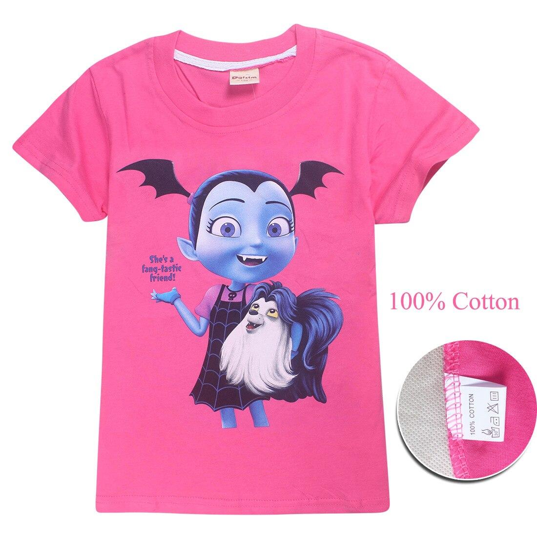 Summer Purple/Red Short Sleeve T-shirt Tshirt Tops Tees Junior Vampirina Cosplay Costume Clothes Girls Birthday Party Gift