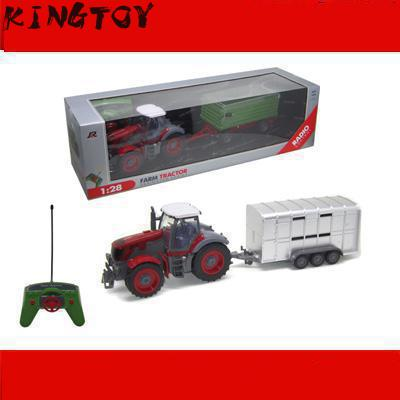 Boy Rc Truck 1:28 Multifunctional Trailer Tractor Electric Rc Truck Engineering Truck Toy Kid's Fun Farm Tractor kingtoy detachable remote control big size multifuncional rc farm trailer tractor truck toy