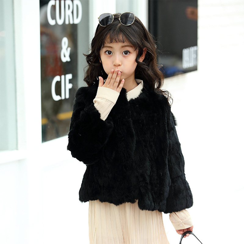 Girls fur 2018 winter new children's girls real rabbit fur grass coat jacket short paragraph fashion fur coat ZPC-126 fashion rabbit and grass pattern 10cm width wacky tie for men