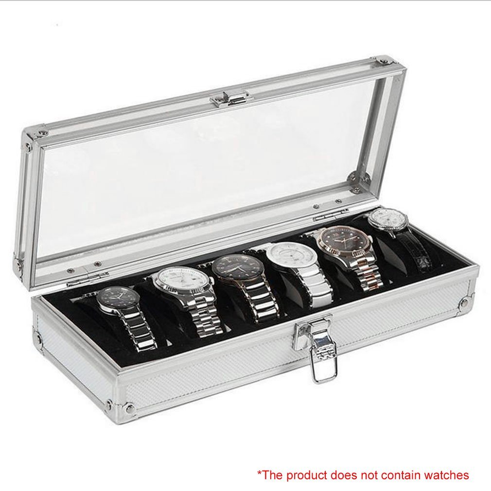 6 Grid Insert Slots Jewelry Display Storage Case Aluminium Watch Box Organizer Holder Packaging Silver For Men Valentine Gift