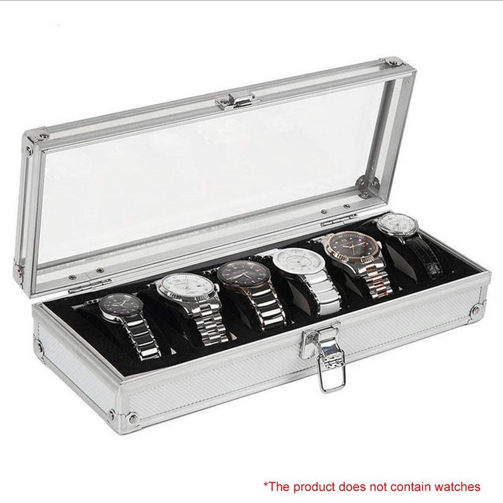 6 Grid Insert Slots Jewelry Display Storage Case Aluminium Watch Box Organizer Holder Packaging Silver For Men Valentine Gift