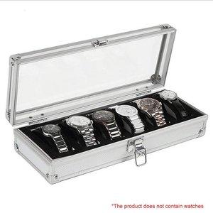 6 Grid Insert Slots Jewelry Display Storage Case Aluminium Watch Box Organizer Holder Packaging Silver For Men Valentine Gift(China)