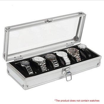 6 ranuras de inserción de rejilla caja de almacenamiento de exhibición de joyería caja de reloj de aluminio organizador de embalaje de plata para hombres regalo de San Valentín