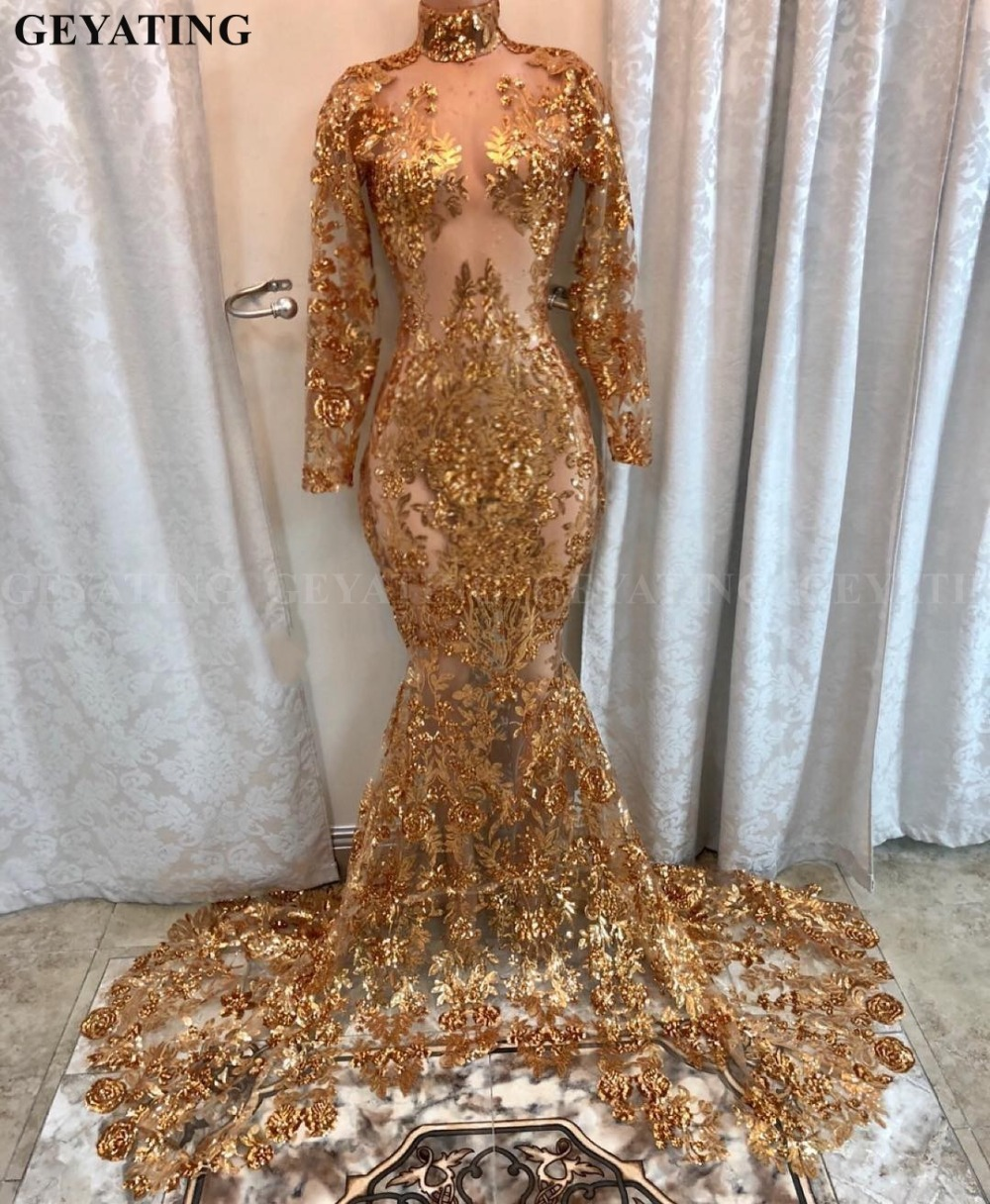 Sparkly Sequin Long Sleeves Mermaid Gold   Prom     Dresses   for Black Girl 2019 Sexy Sheer Lace Appliques African Evening Formal   Dress