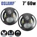 """Oslamp 7 """"60 w CONDUZIU a Luz de Nevoeiro da Hi-Lo Feixe H4 Soquete 12 V LED Farol para Land Rover Defender Jeep Wrangler JK CJ TJ LJ 4x4 DRL 24 V"""