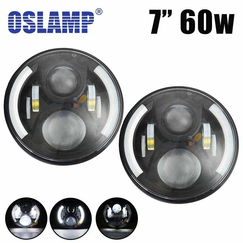 Oslamp 7 60w LED Fog font b Light b font Hi Lo Beam H4 Socket 12V