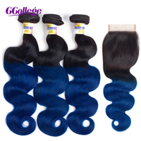 CCollege Hair Bundles With Closure Ombre Body Wave Remy Human Hair Weft Bundles 4*4 Lace Closure Brazilian Hair Black To Blue