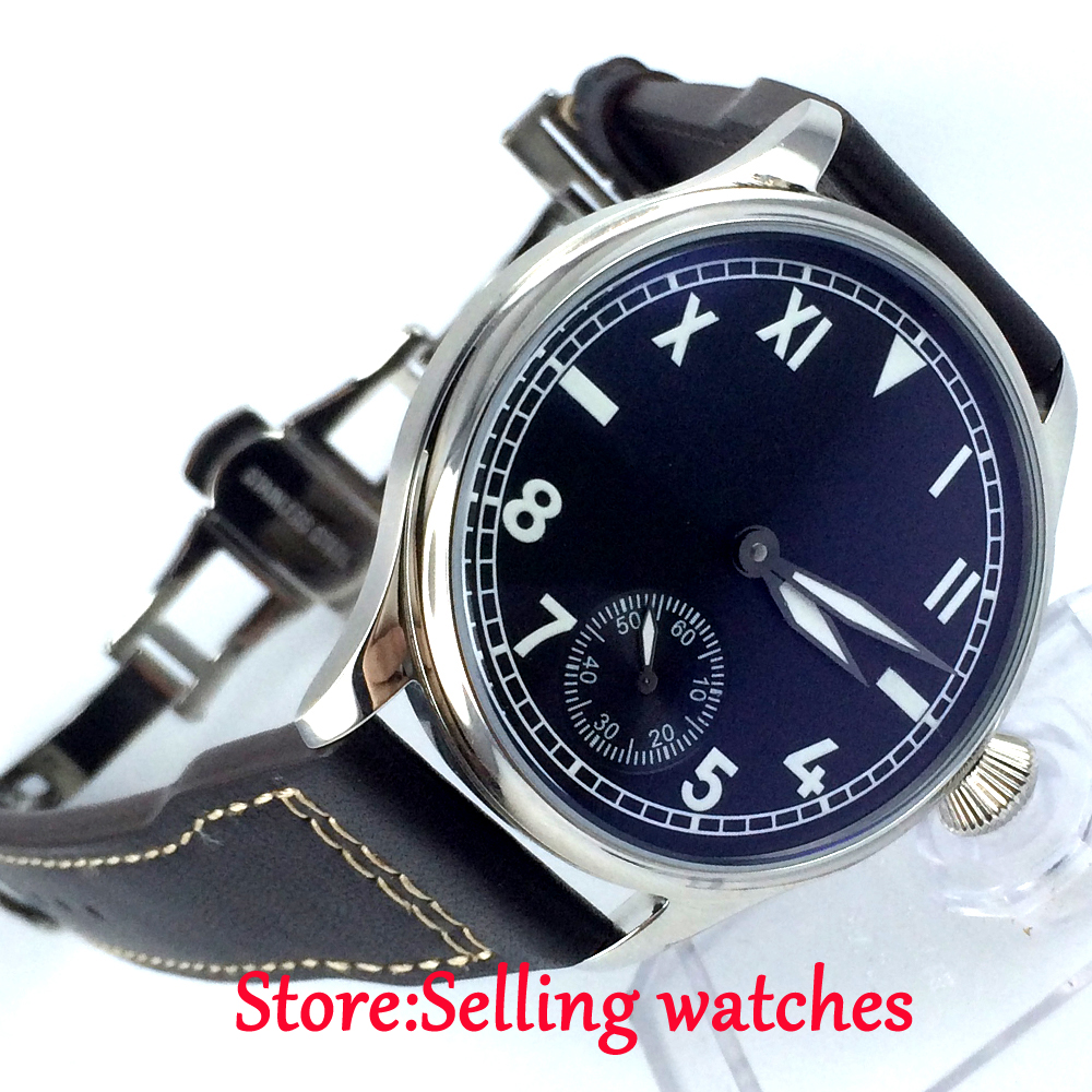 44mm parnis black dial luminous marks 6498 movement hand winding mens watch 44mm parnis black dial luminous marks seagull 6498 hand winding mens watch