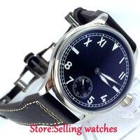 44mm parnis mostrador preto luminosa marcas 6498 mão winding movimento mens watch|watch men|watch men watch|watch watch -
