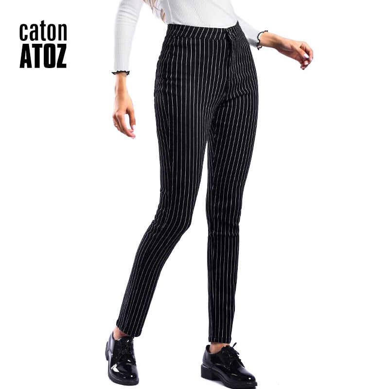 Catonatoz Pantalones De Pitillo Vaqueros Para Mujer Jeans Elasticos A Rayas Negras De Cintura Alta 2210 Pantalones Vaqueros Aliexpress