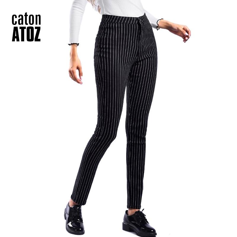 Catonatoz 2210 New Wholesale Woman Denim Pencil Pants Black Stripes Stretch Jeans High -9430