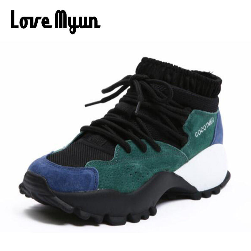 2018 Fashion new Spring Women leather High top Platform Shoes Height increasing Lace-Up Sneakers Thick Sole casual Shoes WD-38