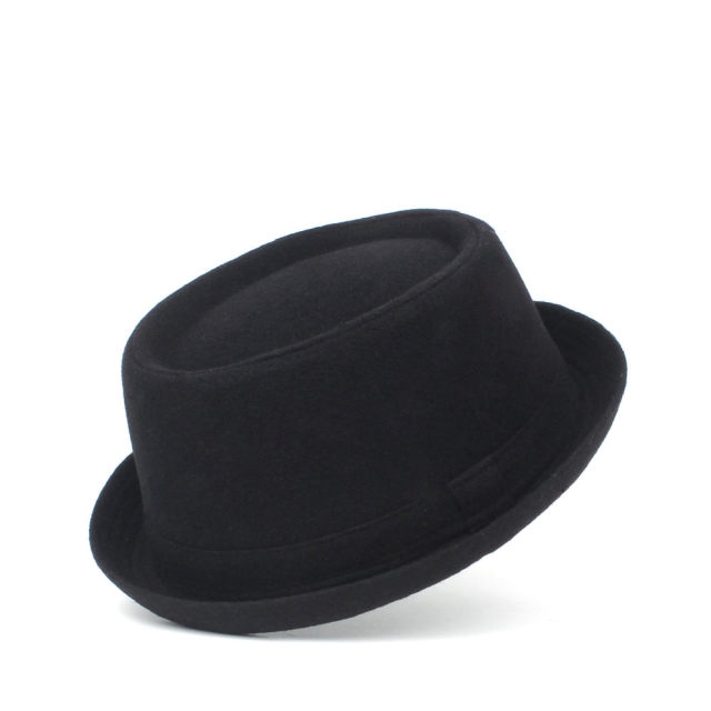 100% Wool Men Pork Pie Hat For Dad Winter Black Fedora Hat For Gentleman Flat Bowler Porkpie Top Hat Size S M L XL 1