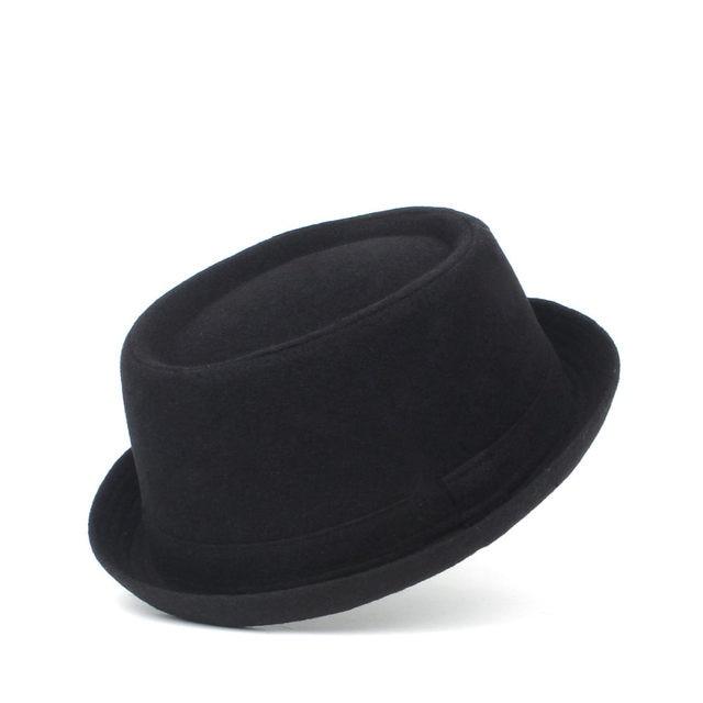 100% Wool Men Pork Pie Hat For Dad Winter Black Fedora Hat For Gentleman Flat Bowler Porkpie Top Hat Size S M L XL 1