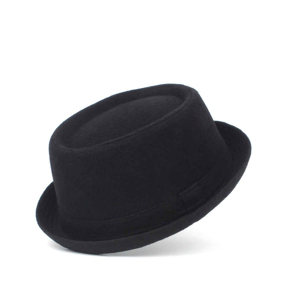 35371aa19 100% Wool Men Pork Pie Hat For Dad Winter Black Fedora Hat For ...