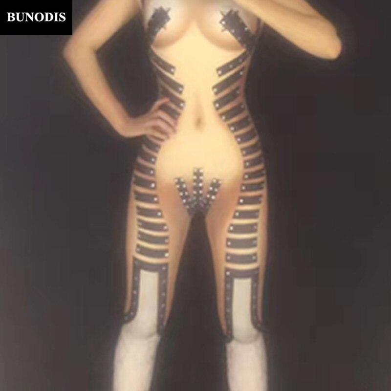 Cristaux Dj Porter Partie Discothèque Sexy Outfit Mousseux Danseur Femmes Body Stage Chanteur Bu009 Métal Costume Salopette Noir UxSqnfFIH