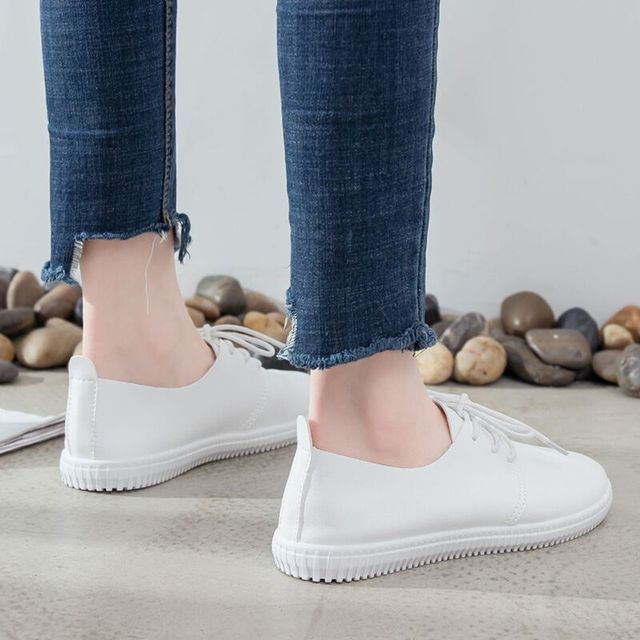 Women Flats Genuine Leather Lace Up Loafer Shoe