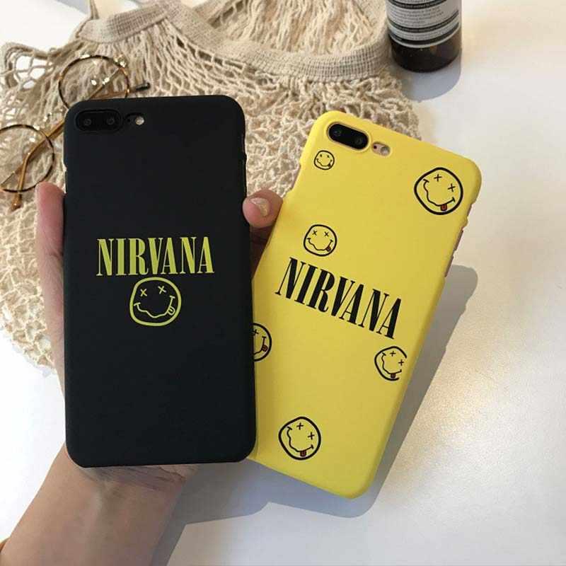 Забавная пара NIRVANA Smile чехол для телефона для iPhone X XR XS Max 6 6S Plus твердая задняя крышка для iPhone 7 8 Plus чехол s Capa