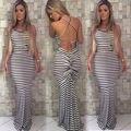 2016 Women Sexy Summer Backless Dress Boho Maxi Long Striped Party Dress Beach Dress Sundress
