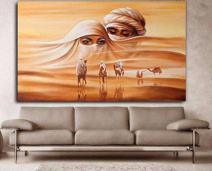 Hand Painted On Canvas Wall Art Beauty Islamic Home Decoration Arabic Art Calligraphy Oil