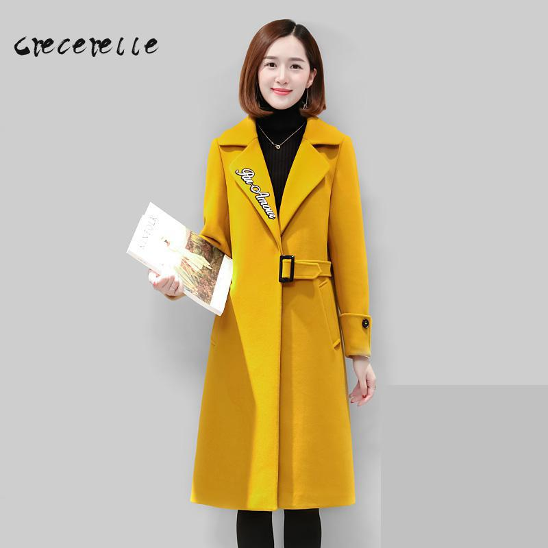 Large Size Women Autumn Winter Woolen Coat 2018 New Female Loose Long Style Female Women Plus Size Feminino Thin D456
