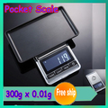 1 pcs 300 gx 0.01 g mini electronic digital jewelry scale, balance Pocket Gram LCD Display register shipping