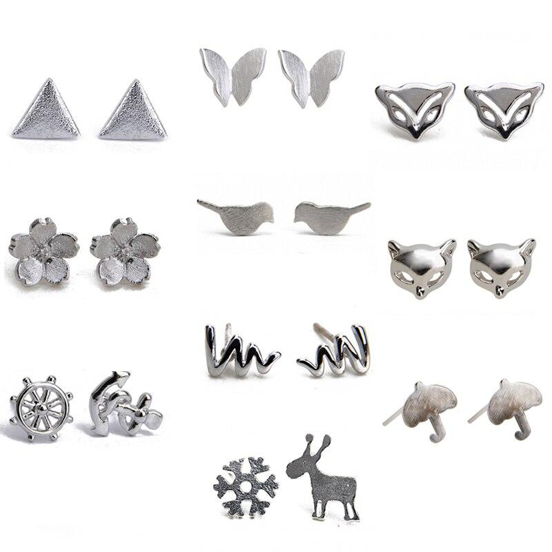 pendientes animales plata