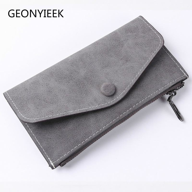 2018 Matte Leather Women's Wallet Zipper Bag Vintage Female Wallet Purse Fashion Card Holder Phone Pocket Long Women Wallet B333