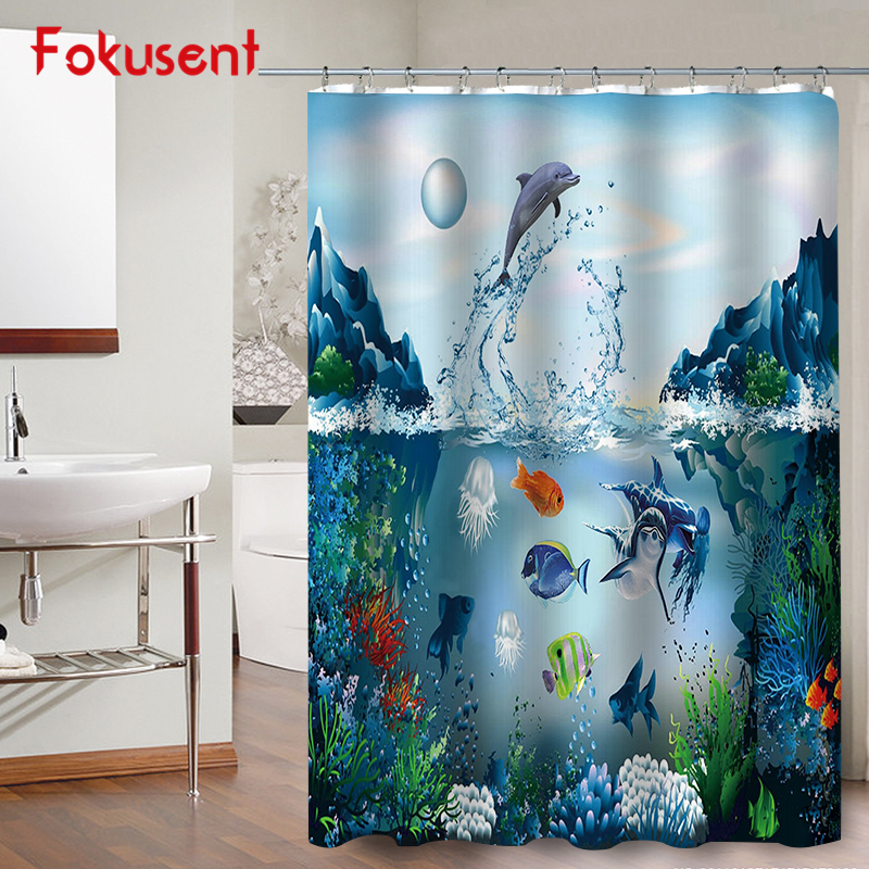 FOKUSENT New Design Marine Dolphin Turtle Shoal of Fish and Colorful Coral Reef Waterproof Polyester Fabric Shower Curtains