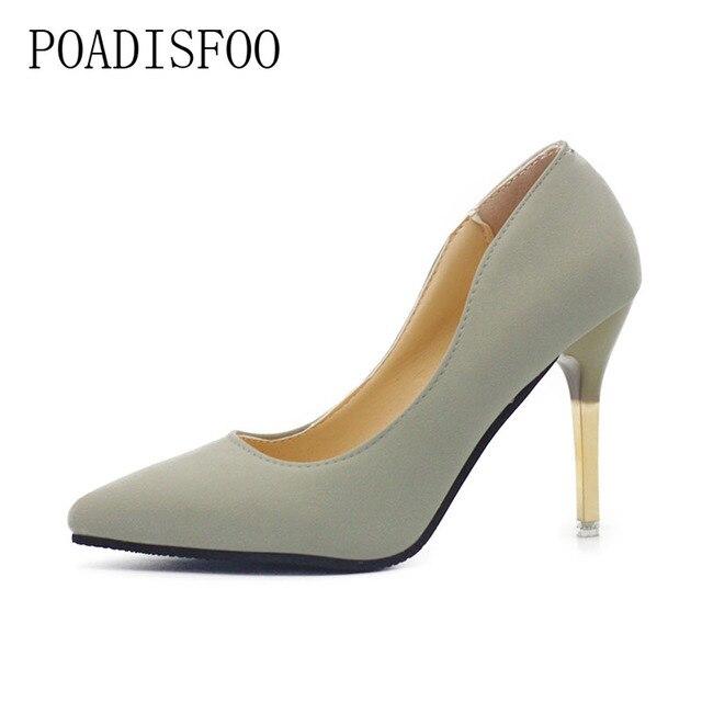 2017 Classic vrouwen puntschoen Pumps Schoenen voor OL Pure kleur Dunne Hakken Hoge Hak Matte Black Drop koop schoenen. XXXY-750