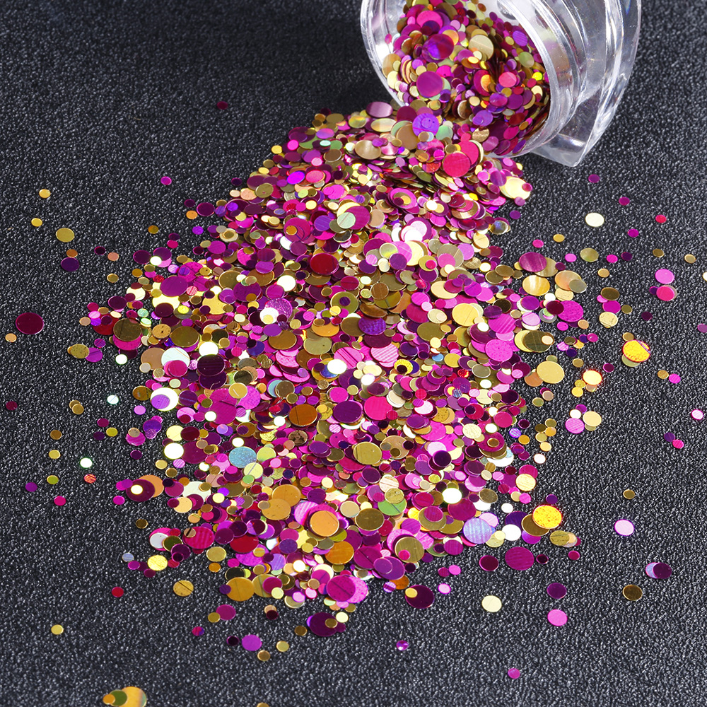 12Jar set Mix Size Nail Glitter Sequins Colorful Round Shape Nailart Glitter Flakes Manicure 3D Nail Art Decorations in Nail Glitter from Beauty Health