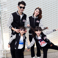 2016 Spring Autumn New Family Matching Outfits Mom Dad Kids Stripe Long Sleeve Baseball Jacket Pants