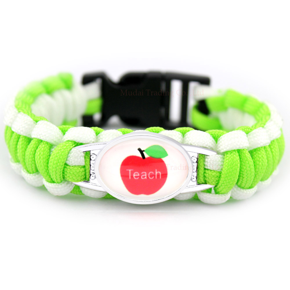 Apple Teacher Assistant Teaching Heart Proud Mom Graduation Paracord Charm Bracelets Glass Cabochon Green Jewelry Men Women Gift