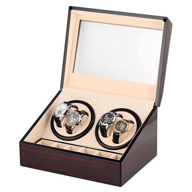 6 + 4 bobinadora automática de reloj con Motor de madera, bobinadora mecánica de reloj, carcasa de almacenamiento para reloj, soporte de pantalla, bobinadora silenciosa, caja de reloj Rotator