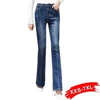 Plus Size Ripped Autumn Stretch Wide Leg Long Jeans Female Blue Casual Korean Denim Jeans 4XL 5XL
