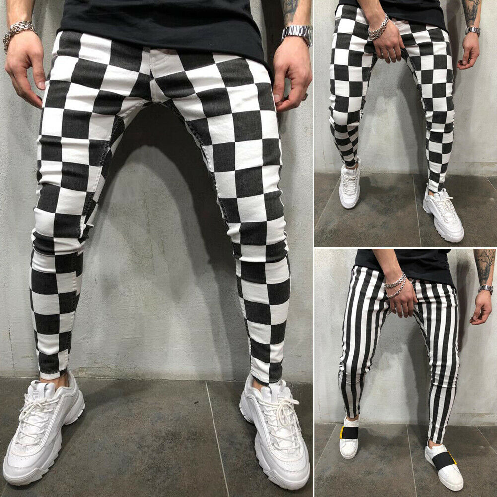 Cool Men's Fashion Slim Jogger Skinny Pencil Pants Comfortable Striped Plaid Hip Hop Casual Pants S-XXL