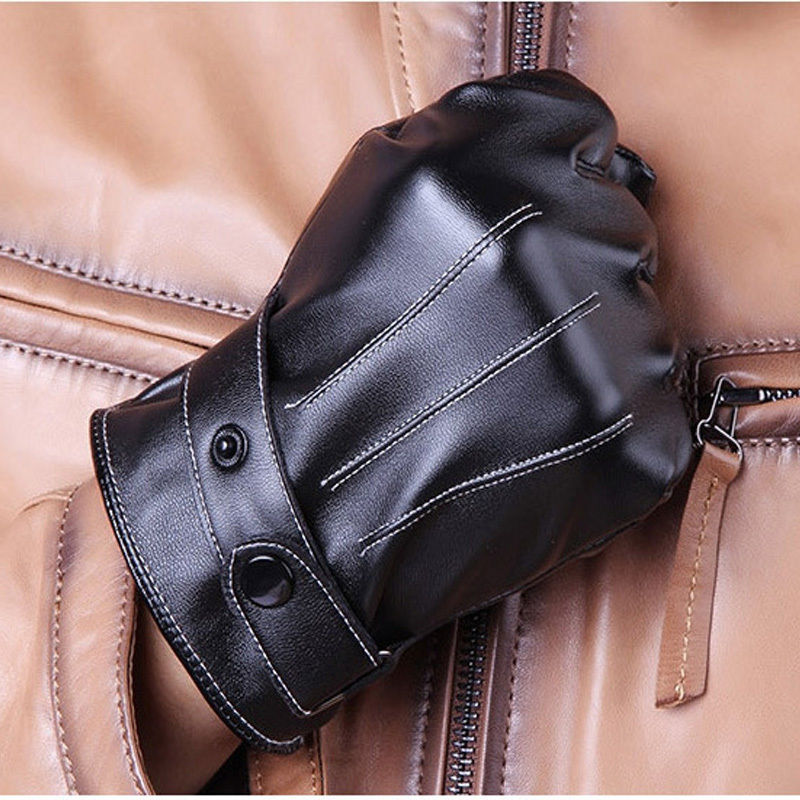 New Clothing Warm Men Motorcycle Full Finger Touch Screen Black Leather Gloves