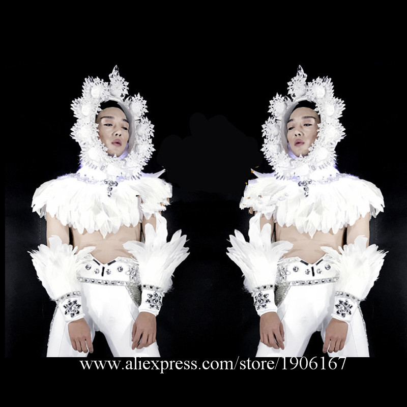 Fashion White Feathers Stage Ballroom Costume Led Light Magic font b Clothing b font Party Christmas