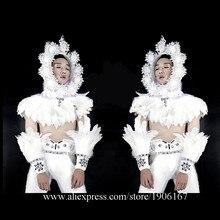 Модные белые перья этап Костюмы для бальных танцев костюм Свет Волшебный Костюмы вечерние Рождество производительность DJ певица одежда костюм для танцев