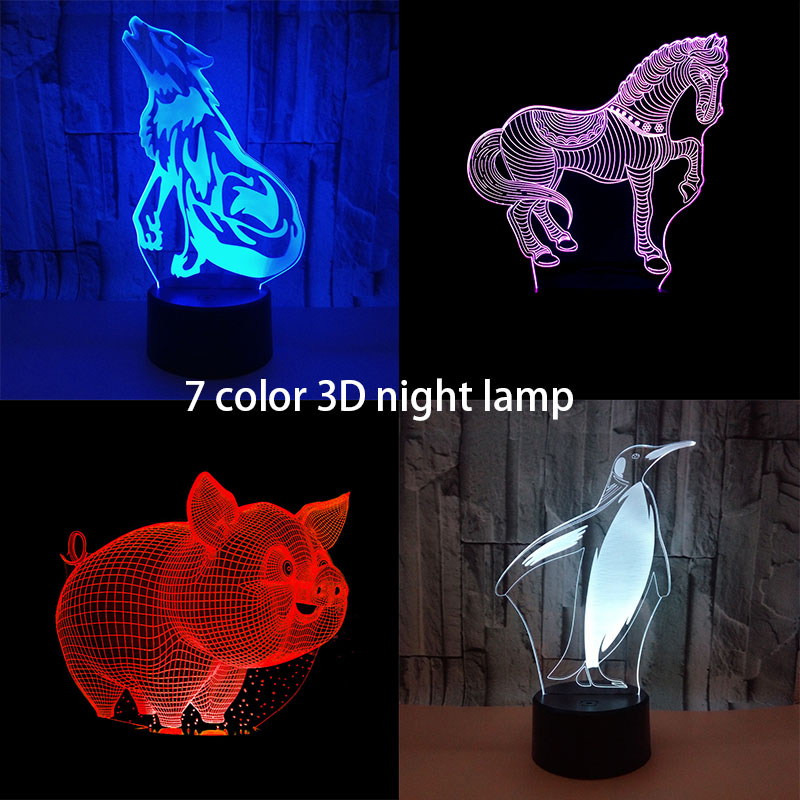 USB Novelty Gifts 7 Colors Changing Animal Horse Wolf Penguin Pig Led Night Lights 3D LED Desk Table Lamp as Home Decoration usb novelty gifts 7 colors changing animal horse led night lights 3d led desk table lamp as home decoration